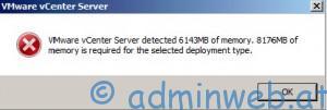 VMware vCenter Windows  zu wenig RAM