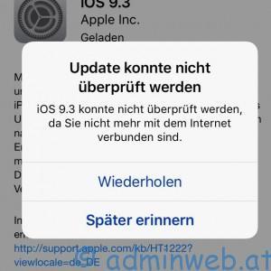 Apple iOS Update konnte nicht überprüft werden
