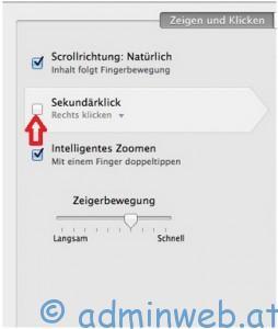 Mac OSX Sekundärklick aktivieren