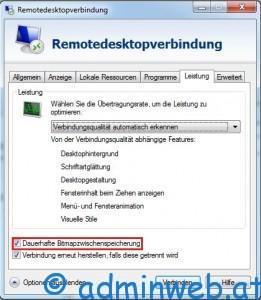 Microsoft Remote Desktop - Remotedesktopverbindung Bitmapzwischenspeicherung