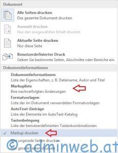 Word 2013 Drucken ohne Markups