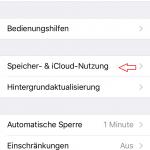 iPhone Einstellungen Menü Speicher