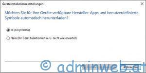 Microsoft Windows 10 Geräteinstallationseinstellungen